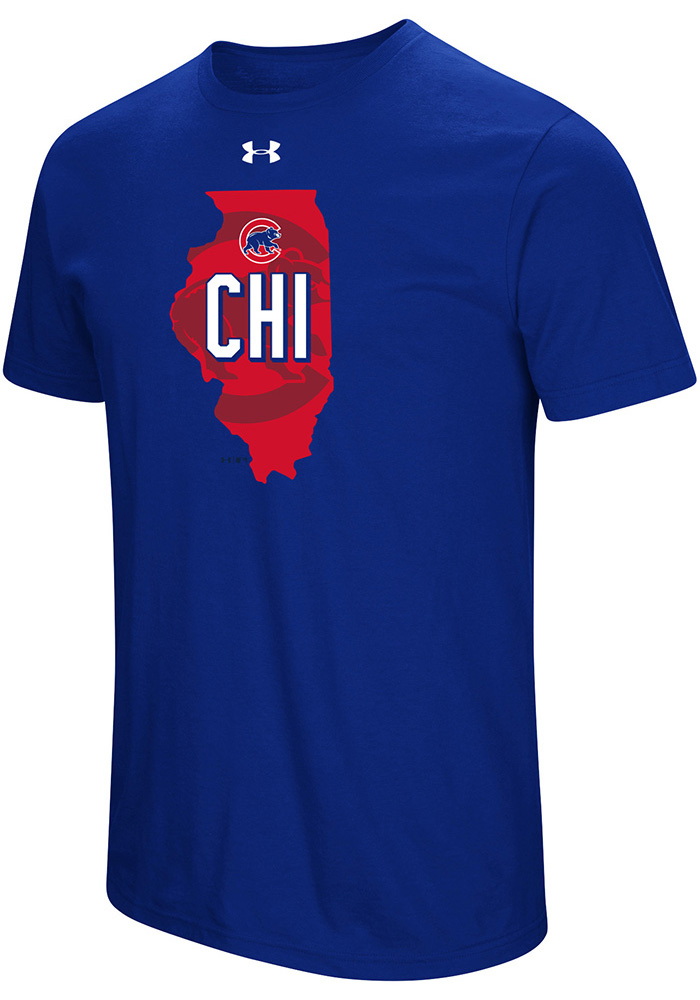 Under Armour Chicago Cubs Blue Passion State Short Sleeve T Shirt - Image 1