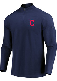 Cleveland Indians Majestic Passion Left Chest 1/4 Zip Pullover - Navy Blue