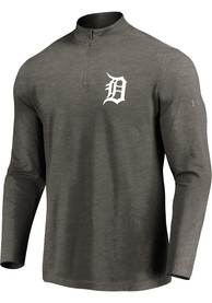 Detroit Tigers Majestic Passion Left Chest 1/4 Zip Pullover - Grey
