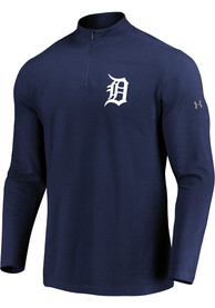 Detroit Tigers Majestic Passion Left Chest 1/4 Zip Pullover - Navy Blue
