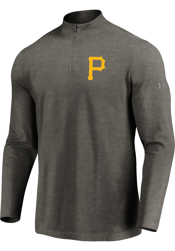 Majestic Pittsburgh Pirates Mens Grey Passion Left Chest Long Sleeve 1/4 Zip Pullover - Image 1