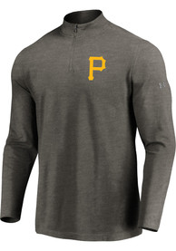 Pittsburgh Pirates Majestic Passion Left Chest 1/4 Zip Pullover - Grey
