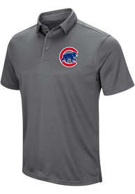 Chicago Cubs Majestic Tech Left Chest Polo Shirt - Grey