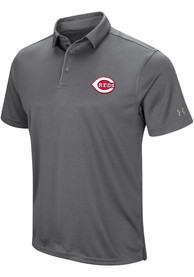 Cincinnati Reds Majestic Tech Left Chest Polo Shirt - Grey