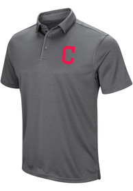 Cleveland Indians Majestic Tech Left Chest Polo Shirt - Grey