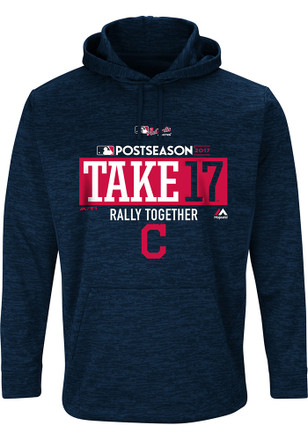 Majestic Cleveland Indians Mens Navy Blue Post Season Clinch Hoodie