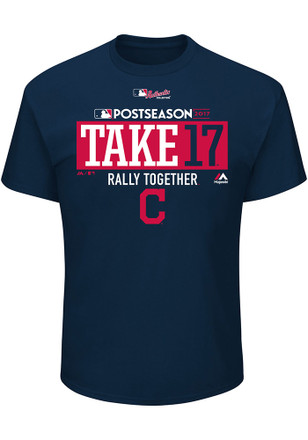 Majestic Cleveland Indians Mens Navy Blue Post Season Play-off Clinch Tee