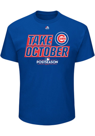 Majestic Chicago Cubs Mens Blue Take October Tee
