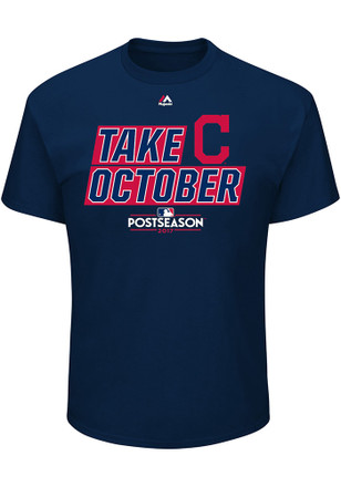 Majestic Cleveland Indians Mens Navy Blue Take October Tee