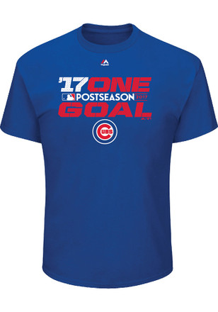 Majestic Chicago Cubs Mens Blue 17 One Goal Tee