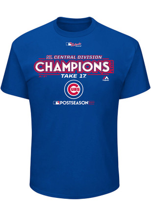 Majestic Chicago Cubs Mens Blue Division Champs Locker Room Tee