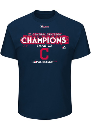 Majestic Cleveland Indians Mens Navy Blue Division Champs Locker Room Tee