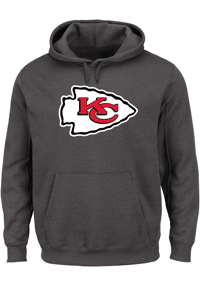 Majestic Kansas City Chiefs Mens Grey Tech Patch Long Sleeve Hoodie, Grey, 100% COTTON, Size M
