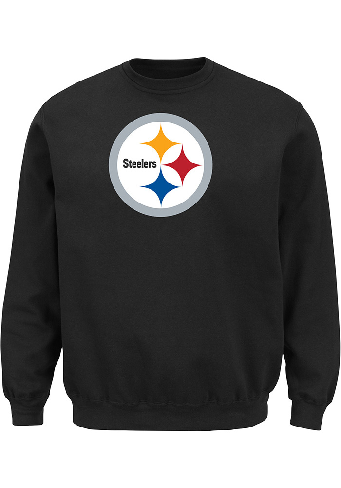 Majestic Pittsburgh Steelers Mens Black Tek Patch Long Sleeve Crew Sweatshirt, Black, 100% COTTON, Size XL