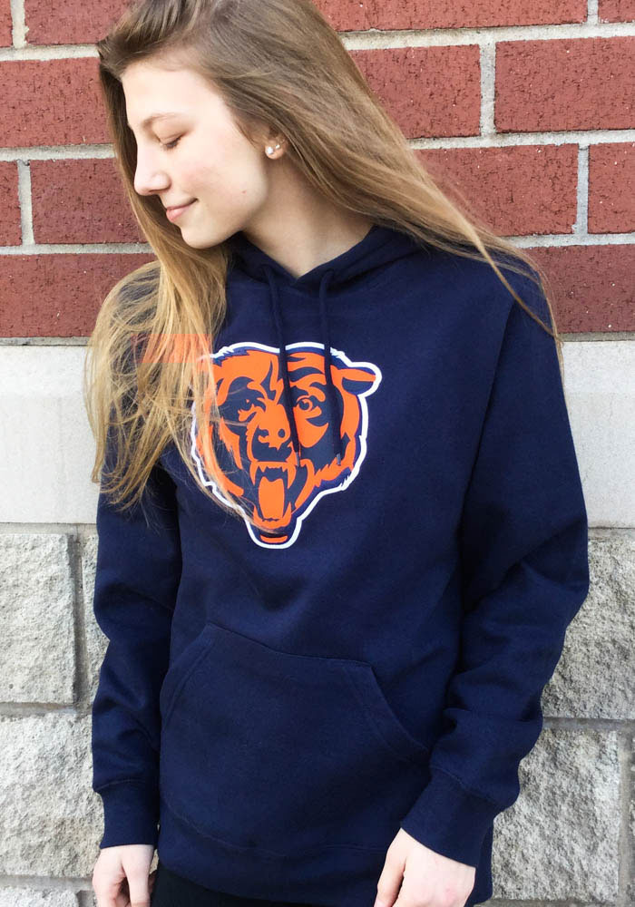 Majestic Chicago Bears Mens Navy Blue Tek Patch Long Sleeve Hoodie - Image 1