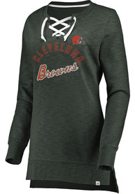 Cleveland Browns Womens Hyper Lace Tunic Crew Sweatshirt - Charcoal