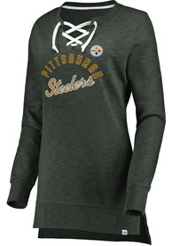 Pittsburgh Steelers Womens Hyper Lace Tunic Crew Sweatshirt - Charcoal
