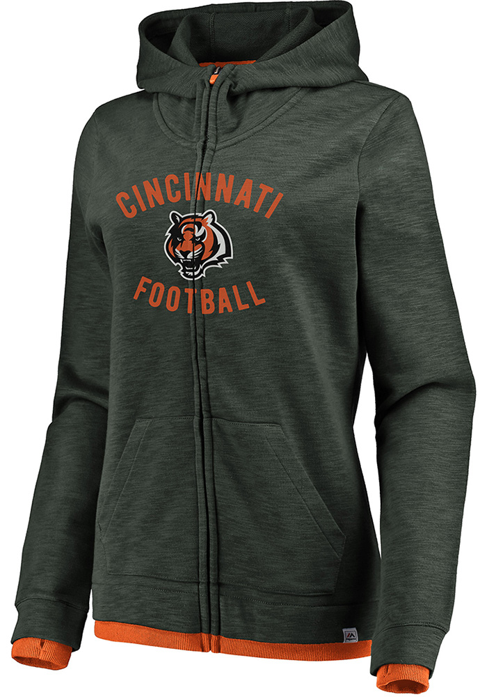Cincinnati Bengals Womens Charcoal Hyper Fandom Long Sleeve Full Zip Jacket - Image 1