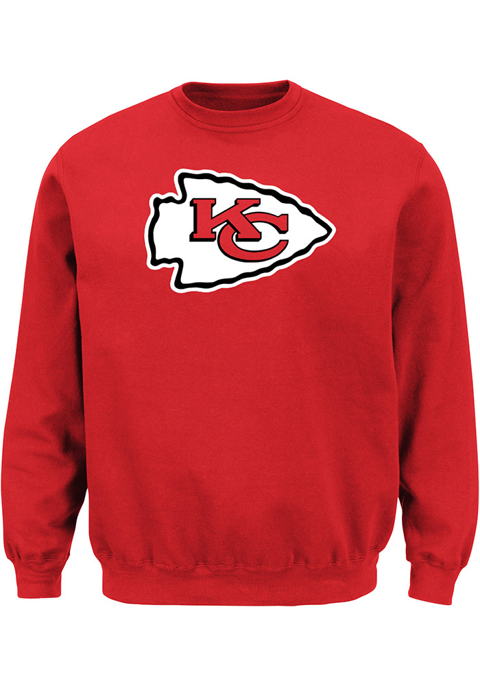 Majestic Kansas City Chiefs Mens Red Tek Patch Long Sleeve Crew Sweatshirt - Image 1