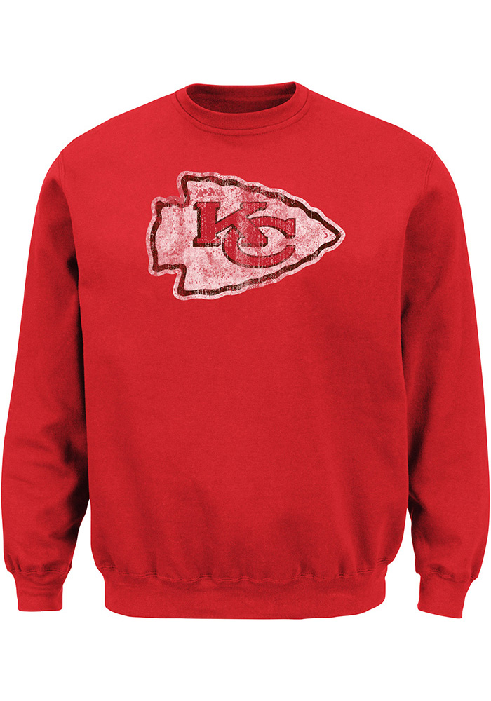 Majestic Kansas City Chiefs Mens Red Distressed Long Sleeve Crew Sweatshirt - Image 1