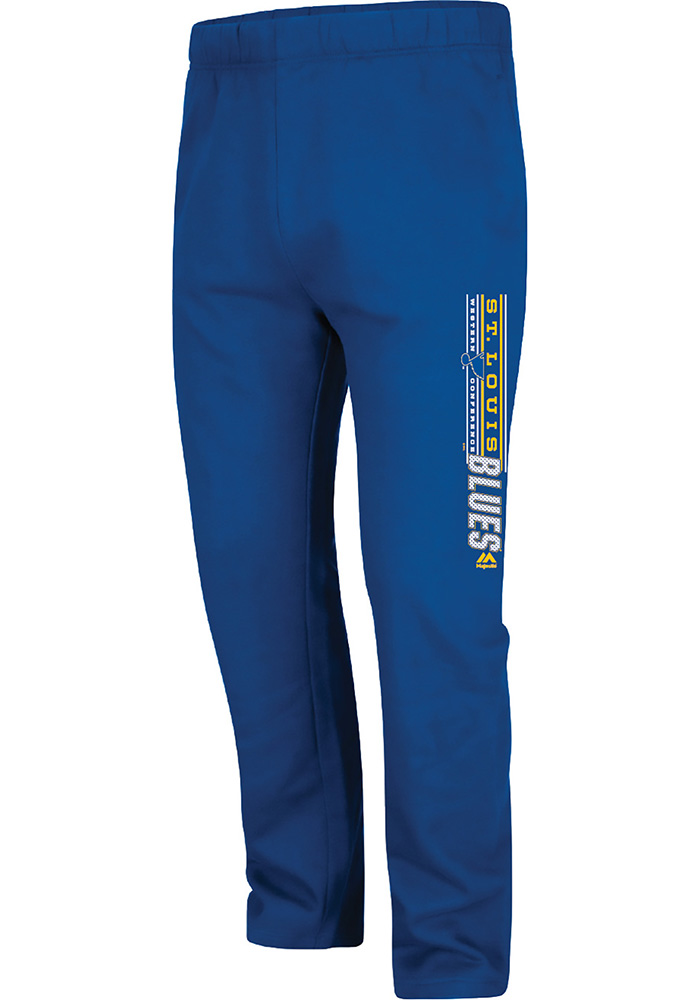 Majestic St Louis Blues Mens Blue Cross Bar Sweatpants - Image 1