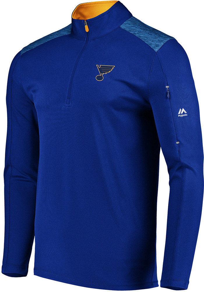 Majestic St Louis Blues Blue Ultra Streak 1/4 Zip Pullover