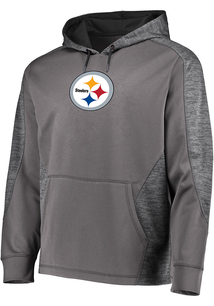 detailed look 0a1c4 a3b93 Majestic Pittsburgh Steelers Mens Grey Armour Hood