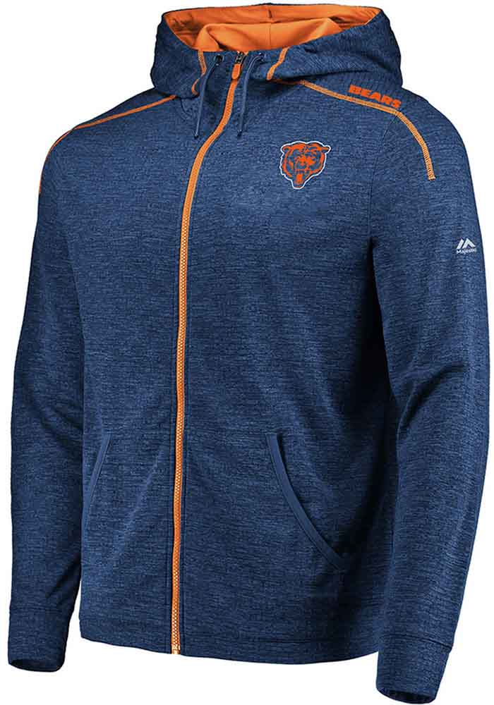 Majestic Chicago Bears Mens Navy Blue Game Elite Long Sleeve Zip - Image 1