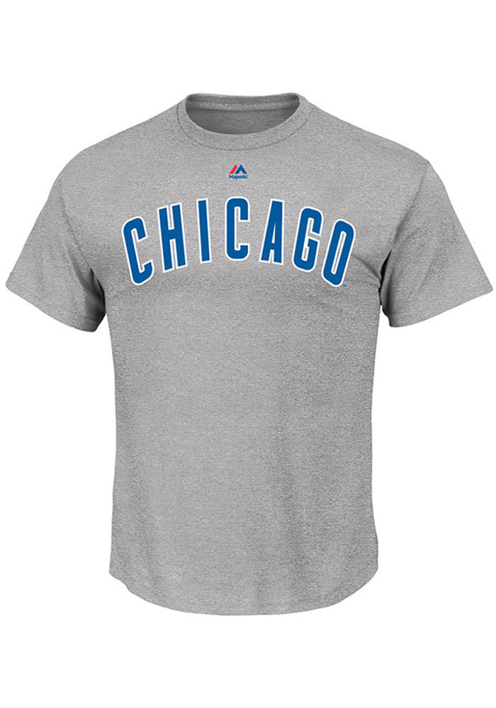 Majestic Chicago Cubs Mens Grey Road Wordmark Short Sleeve T Shirt - Image 1