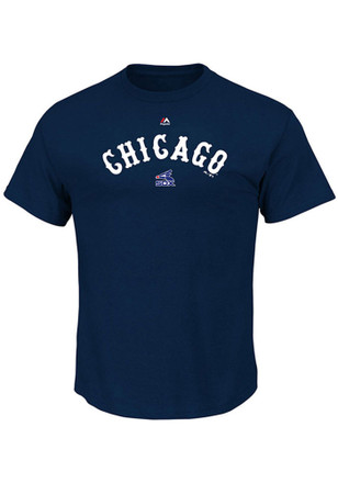 Majestic White Sox Mens Navy Blue Series Sweep Cooperstown Tee