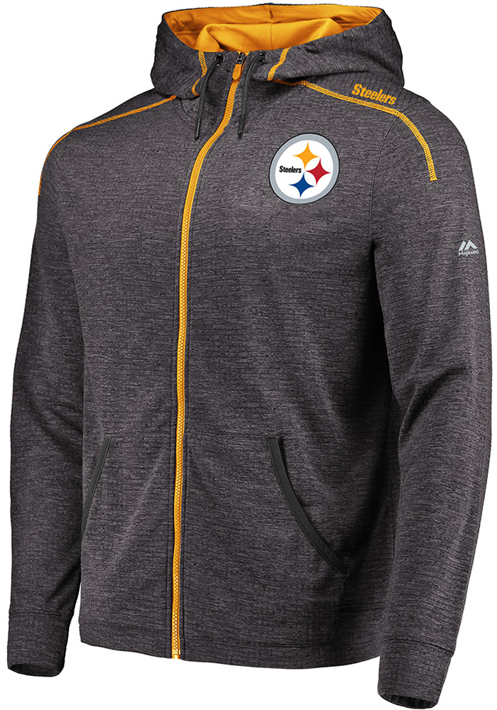 huge selection of 9c6e6 ff2d1 Majestic Pittsburgh Steelers Mens Grey Game Elite Long Sleeve Zip