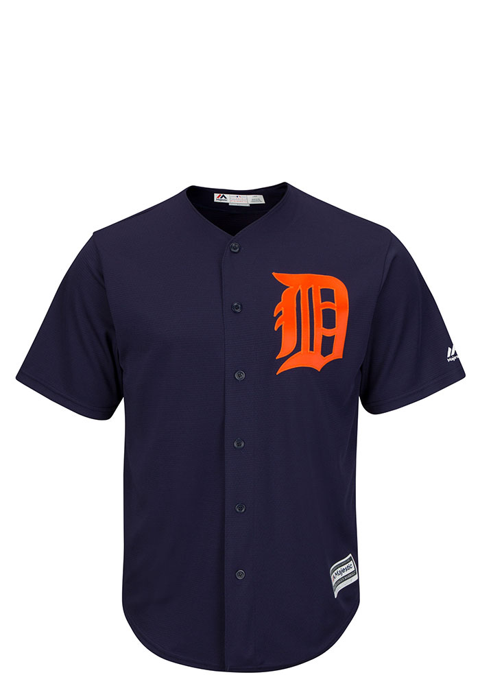 Detroit Tigers Mens Majestic Replica Tackle Twill Jersey - Navy Blue - Image 1