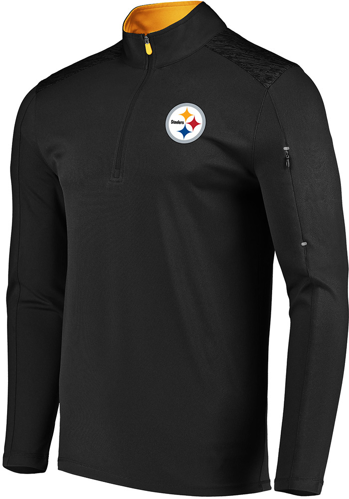Majestic Pittsburgh Steelers Mens Black Ultra-Streak Long Sleeve 1/4 Zip Pullover - Image 1