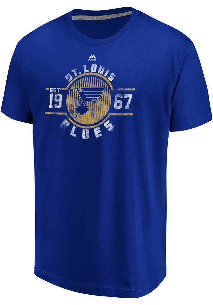 Majestic St Louis Blues Blue Drop Pass Short Sleeve T Shirt - Image 1