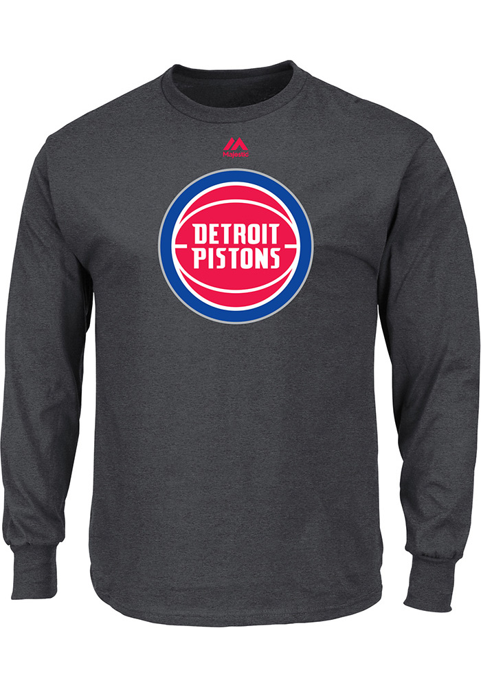 Majestic Detroit Pistons Mens Grey Logo II Long Sleeve T Shirt - Image 1