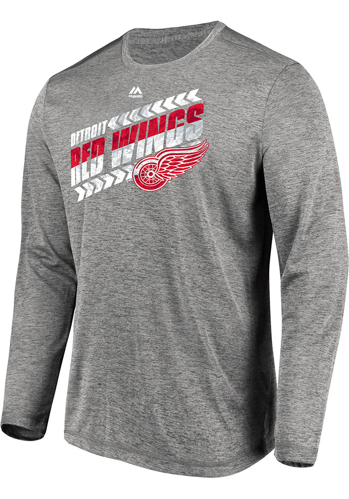 Majestic Detroit Red Wings Grey Centre Long Sleeve T-Shirt - Image 1