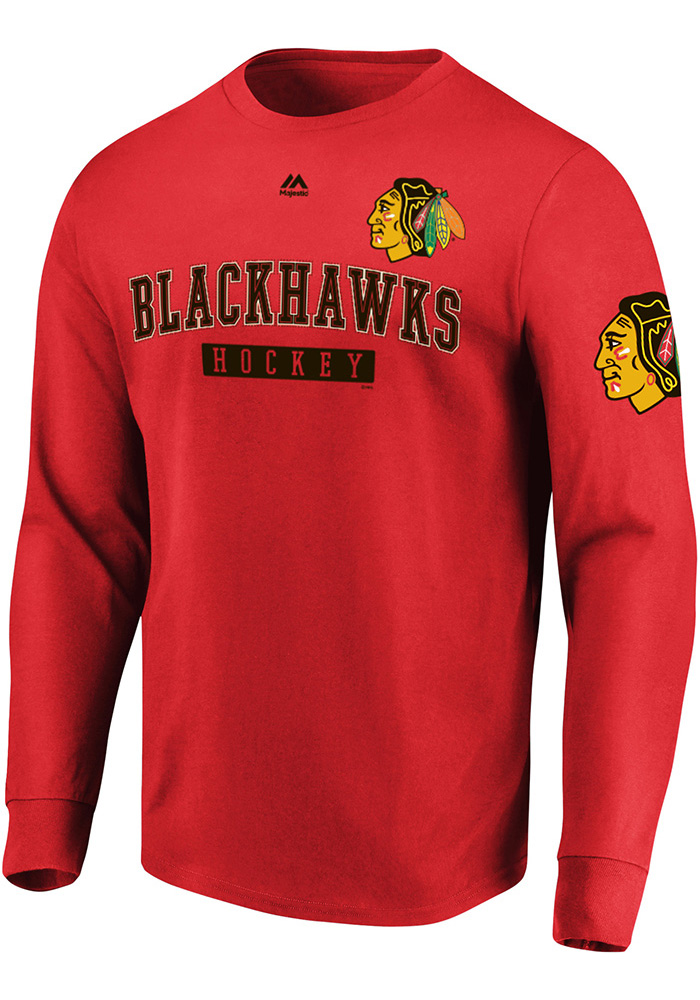 Majestic Chicago Blackhawks Red Keep Score Long Sleeve T Shirt - Image 1