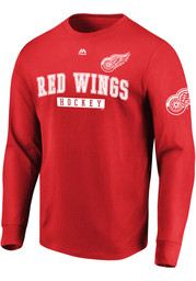 Majestic Detroit Red Wings Red Keep Score Long Sleeve T Shirt