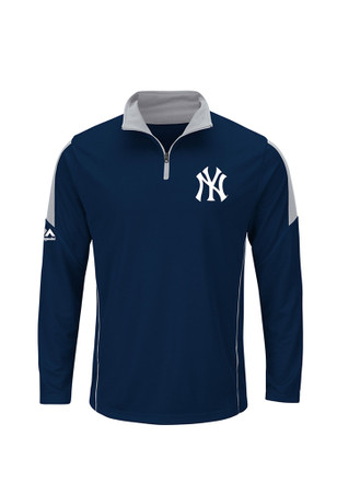 Majestic New York Yankees Mens Navy Blue Status Inquiry 1/4 Zip Pullover