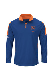 Majestic NY Mets Mens Blue 1/4 Zip Performance Pullover