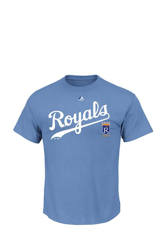 Majestic Kansas City Royals Mens Blue Cooperstown Team Property Short Sleeve T Shirt - Image 1