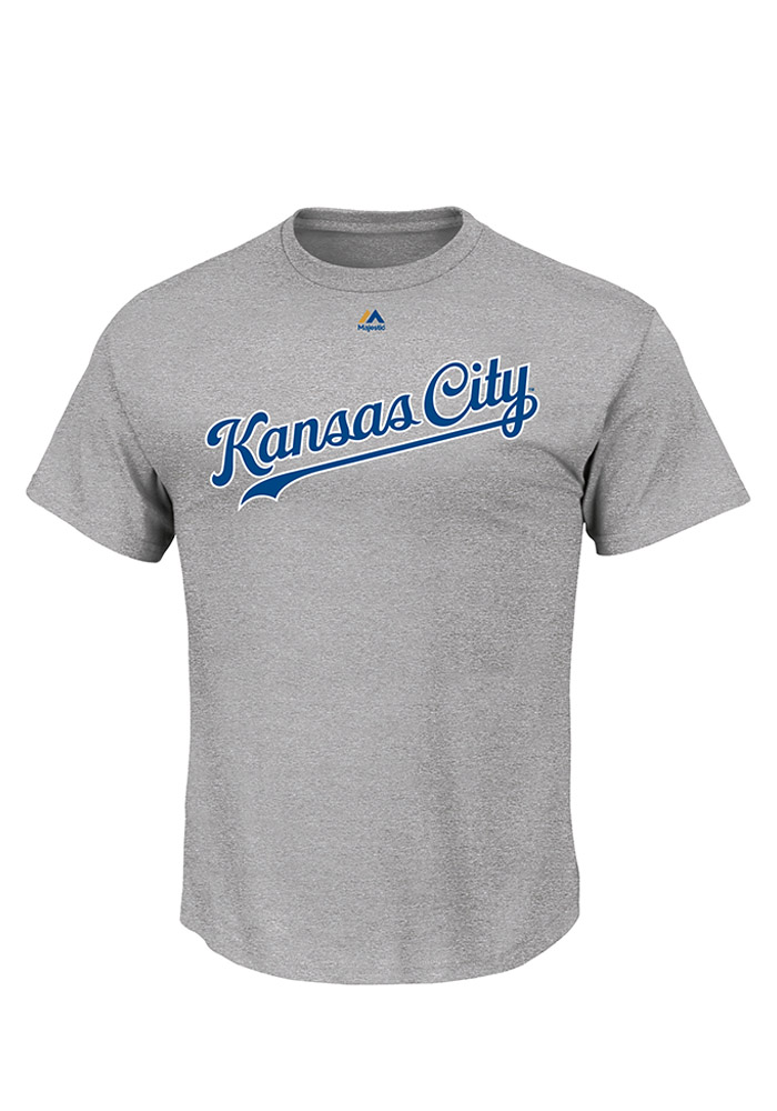Majestic Kansas City Royals Grey Road Wordmark Tee