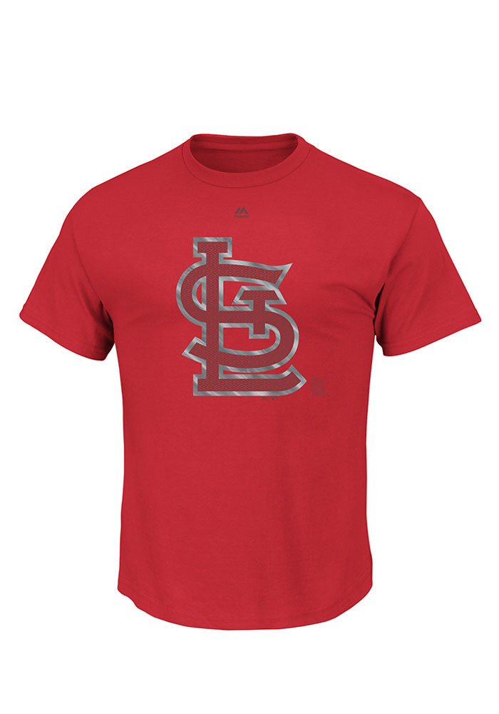 Majestic St Louis Cardinals Mens Red Push Through Short Sleeve T Shirt - Image 1