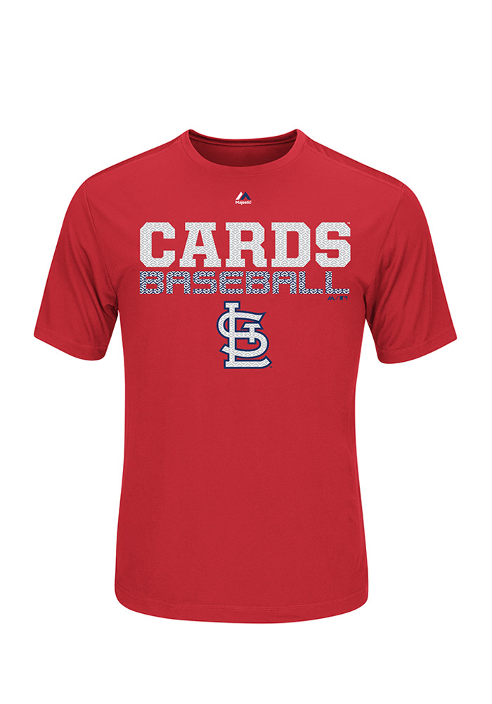 Majestic St Louis Cardinals Red Feel the Pressure Short Sleeve T Shirt - Image 1