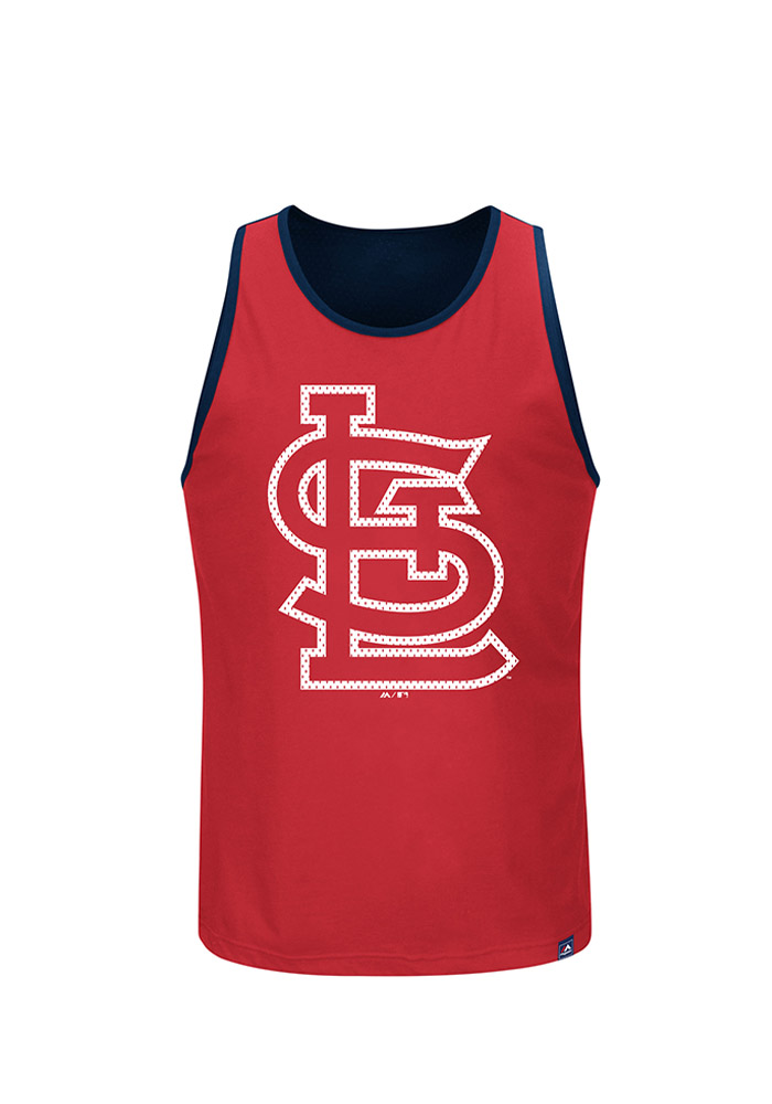 Majestic St Louis Cardinals Mens Red All Last Season Short Sleeve Tank Top - Image 1