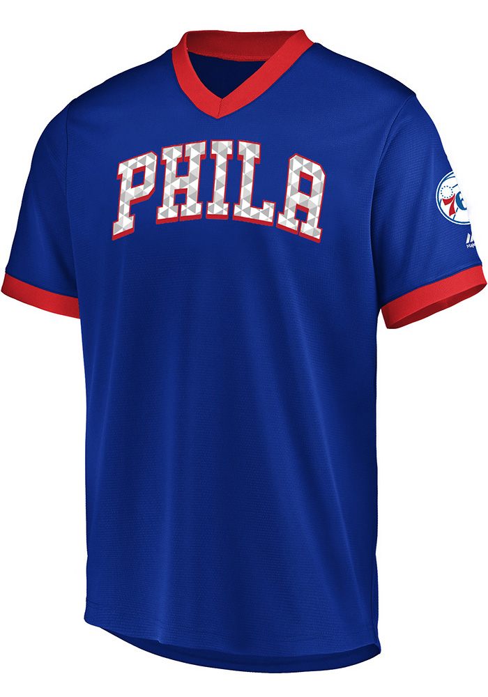 new arrival d1026 a36fa Majestic Philadelphia 76ers Mens Blue Team Glory Jersey