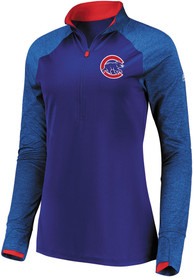 Chicago Cubs Womens Majestic Extremely Clear 1/4 Zip - Blue