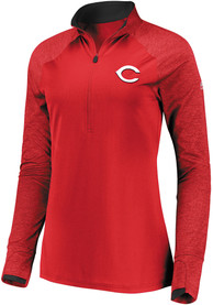 Cincinnati Reds Womens Majestic Extremely Clear 1/4 Zip - Red