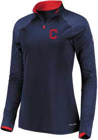 Cleveland Indians Womens Majestic Extremely Clear 1/4 Zip - Navy Blue