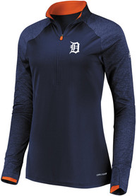 Detroit Tigers Womens Majestic Extremely Clear 1/4 Zip - Navy Blue
